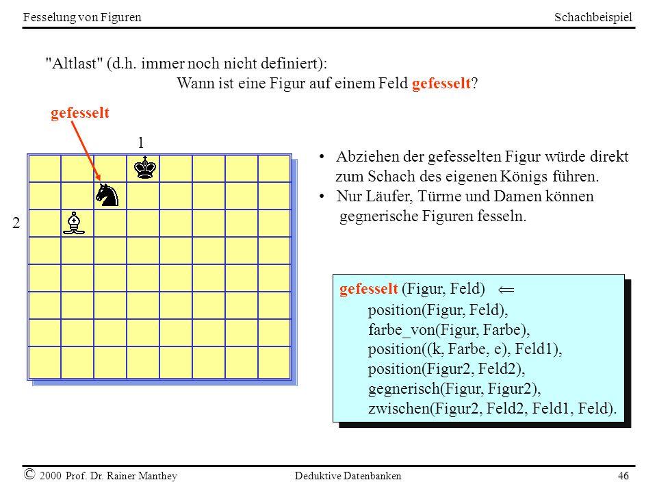 Schachbeispiel © 2000 Prof. Dr. Rainer Manthey Deduktive Datenbanken 46 Fesselung von Figuren