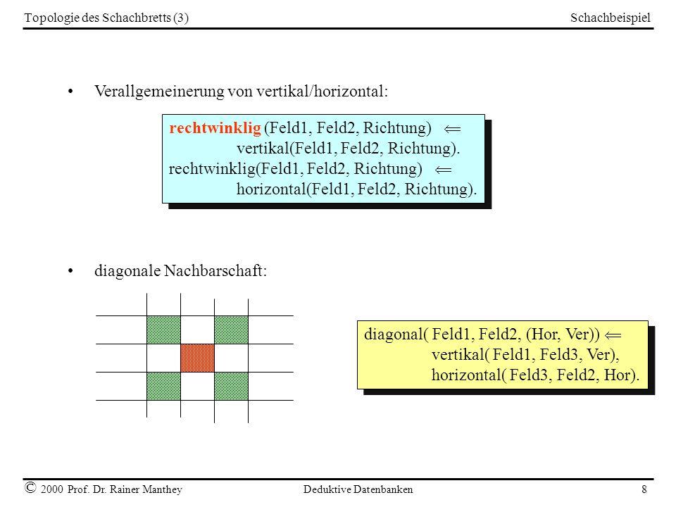 Schachbeispiel © 2000 Prof. Dr. Rainer Manthey Deduktive Datenbanken 8 Topologie des Schachbretts (3) Verallgemeinerung von vertikal/horizontal: recht