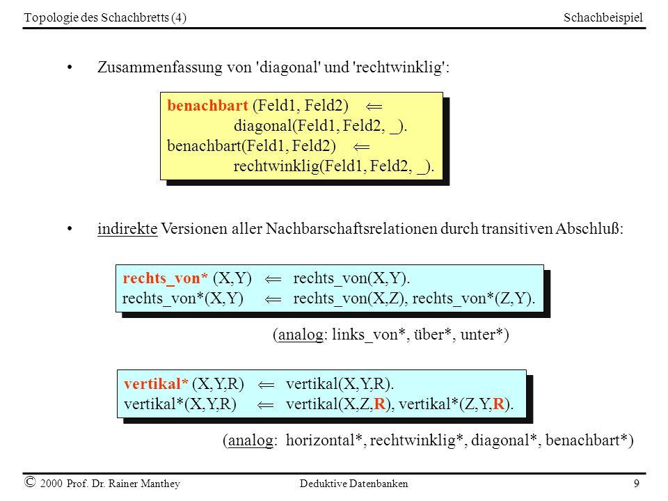 Schachbeispiel © 2000 Prof. Dr. Rainer Manthey Deduktive Datenbanken 9 Topologie des Schachbretts (4) Zusammenfassung von 'diagonal' und 'rechtwinklig
