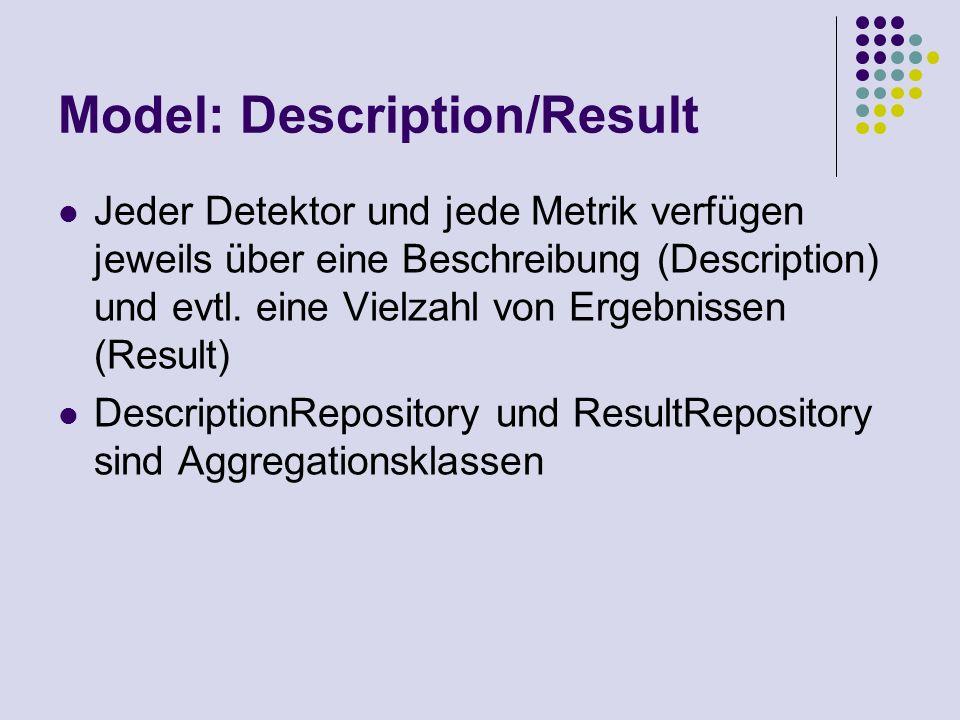 Model: Description/Result Jeder Detektor und jede Metrik verfügen jeweils über eine Beschreibung (Description) und evtl. eine Vielzahl von Ergebnissen