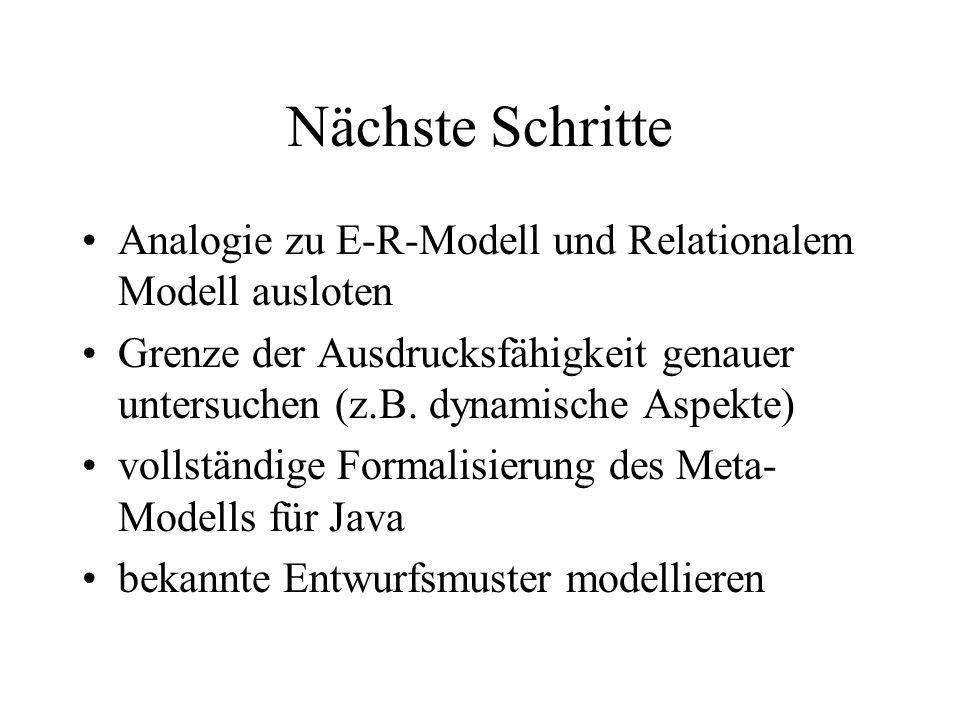 Nächste Schritte Analogie zu E-R-Modell und Relationalem Modell ausloten Grenze der Ausdrucksfähigkeit genauer untersuchen (z.B. dynamische Aspekte) v
