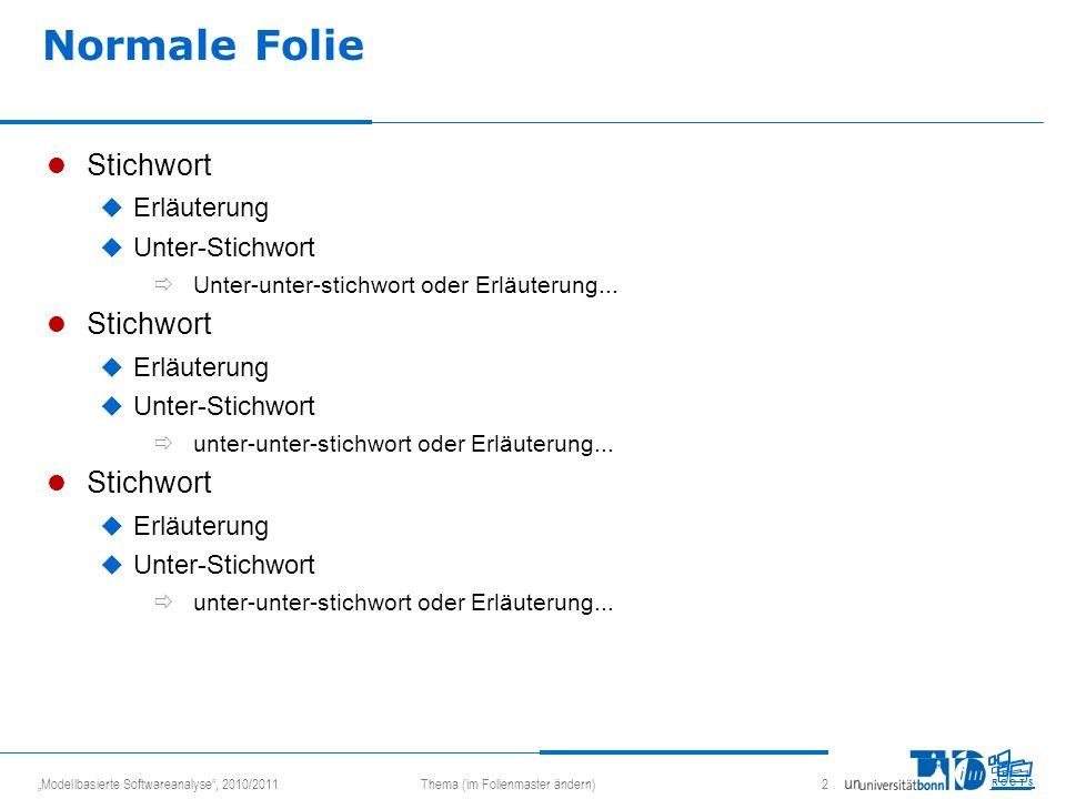 Modellbasierte Softwareanalyse, 2010/2011Thema (im Folienmaster ändern) 2 R O O T S Normale Folie Stichwort Erläuterung Unter-Stichwort Unter-unter-st
