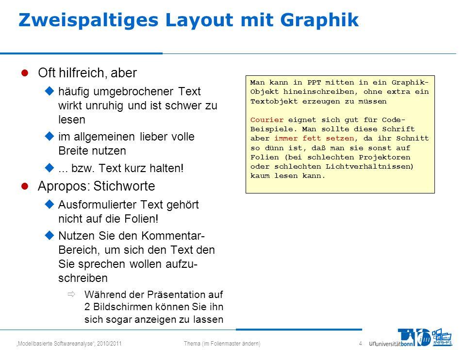 Modellbasierte Softwareanalyse, 2010/2011Thema (im Folienmaster ändern) 4 R O O T S Man kann in PPT mitten in ein Graphik- Objekt hineinschreiben, ohn