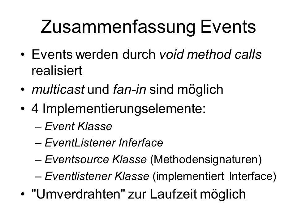 Zusammenfassung Events Events werden durch void method calls realisiert multicast und fan-in sind möglich 4 Implementierungselemente: –Event Klasse –EventListener Inferface –Eventsource Klasse (Methodensignaturen) –Eventlistener Klasse (implementiert Interface) Umverdrahten zur Laufzeit möglich