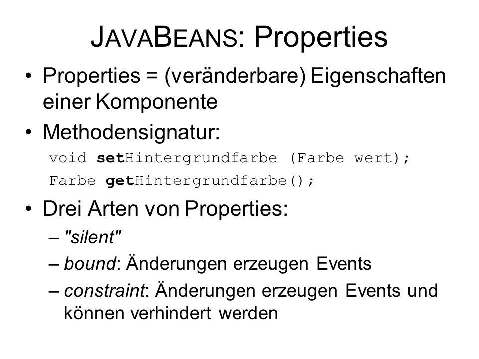 J AVA B EANS : Properties Properties = (veränderbare) Eigenschaften einer Komponente Methodensignatur: void setHintergrundfarbe (Farbe wert); Farbe ge