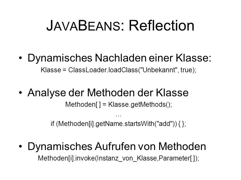J AVA B EANS : Reflection Dynamisches Nachladen einer Klasse: Klasse = ClassLoader.loadClass( Unbekannt , true); Analyse der Methoden der Klasse Methoden[ ] = Klasse.getMethods();...