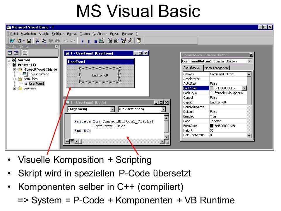 MS Visual Basic Visuelle Komposition + Scripting Skript wird in speziellen P-Code übersetzt Komponenten selber in C++ (compiliert) => System = P-Code