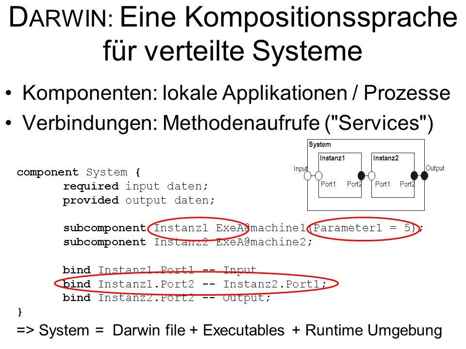 D ARWIN: Eine Kompositionssprache für verteilte Systeme Komponenten: lokale Applikationen / Prozesse Verbindungen: Methodenaufrufe ( Services ) component System { required input daten; provided output daten; subcomponent Instanz1 ExeA@machine1(Parameter1 = 5); subcomponent Instanz2 ExeA@machine2; bind Instanz1.Port1 -- Input bind Instanz1.Port2 -- Instanz2.Port1; bind Instanz2.Port2 -- Output; } System Instanz1 Port1Port2 Port1 Input Output Instanz2 => System = Darwin file + Executables + Runtime Umgebung