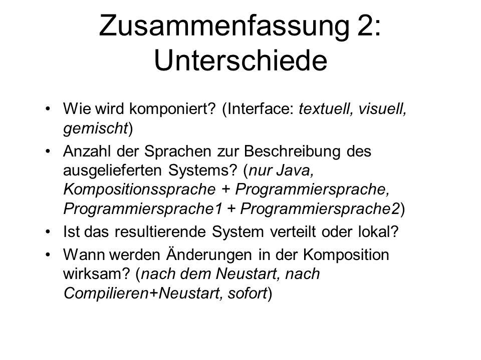 Zusammenfassung 2: Unterschiede Wie wird komponiert? (Interface: textuell, visuell, gemischt) Anzahl der Sprachen zur Beschreibung des ausgelieferten