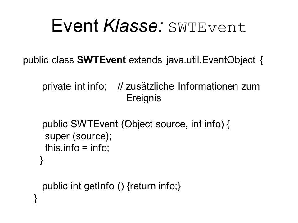 Event Klasse: SWTEvent public class SWTEvent extends java.util.EventObject { private int info; // zusätzliche Informationen zum Ereignis public SWTEvent (Object source, int info) { super (source); this.info = info; } public int getInfo () {return info;} }