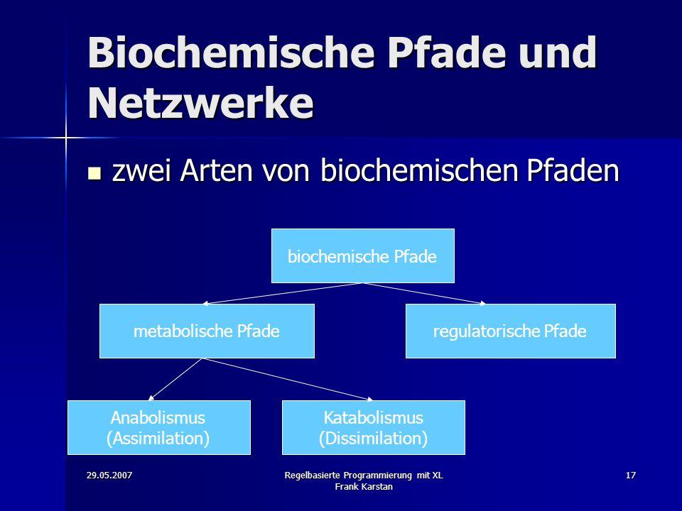 29.05.2007Regelbasierte Programmierung mit XL Frank Karstan 17 Biochemische Pfade und Netzwerke zwei Arten von biochemischen Pfaden zwei Arten von biochemischen Pfaden biochemische Pfade metabolische Pfaderegulatorische Pfade Anabolismus (Assimilation) Katabolismus (Dissimilation)