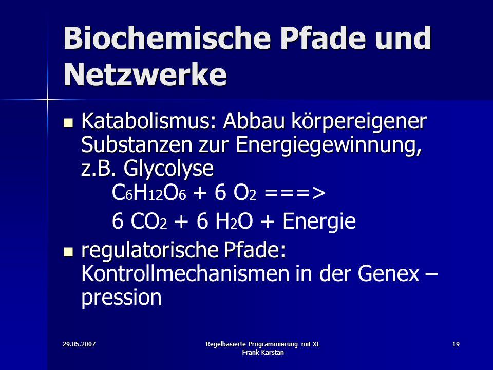 29.05.2007Regelbasierte Programmierung mit XL Frank Karstan 19 Biochemische Pfade und Netzwerke Katabolismus: Abbau körpereigener Substanzen zur Energiegewinnung, z.B.