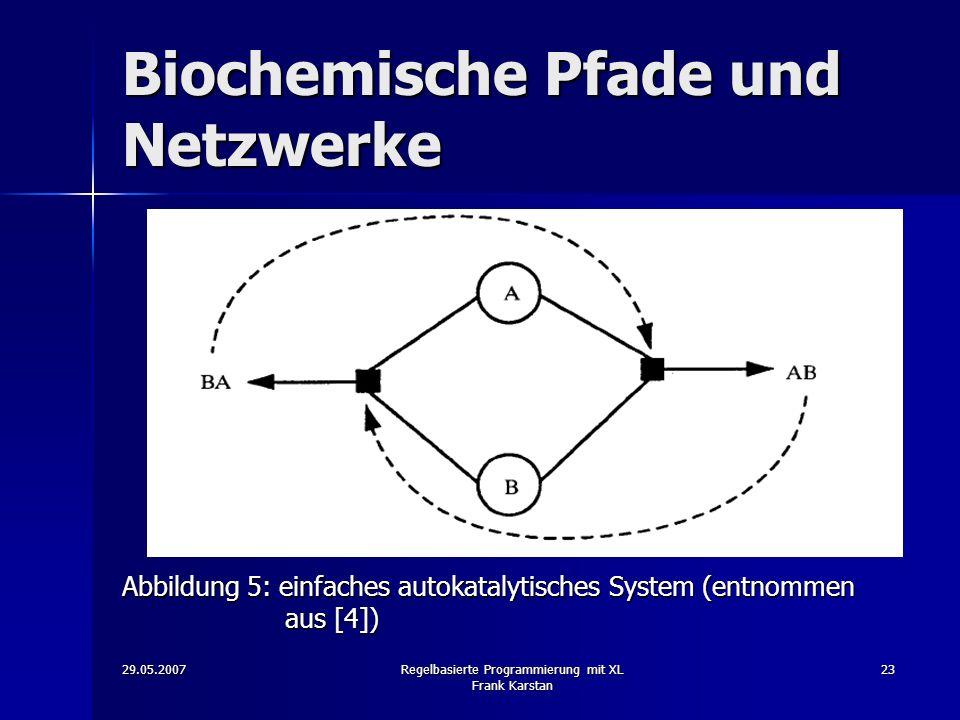 29.05.2007Regelbasierte Programmierung mit XL Frank Karstan 23 Biochemische Pfade und Netzwerke Abbildung 5: einfaches autokatalytisches System (entnommen aus [4])