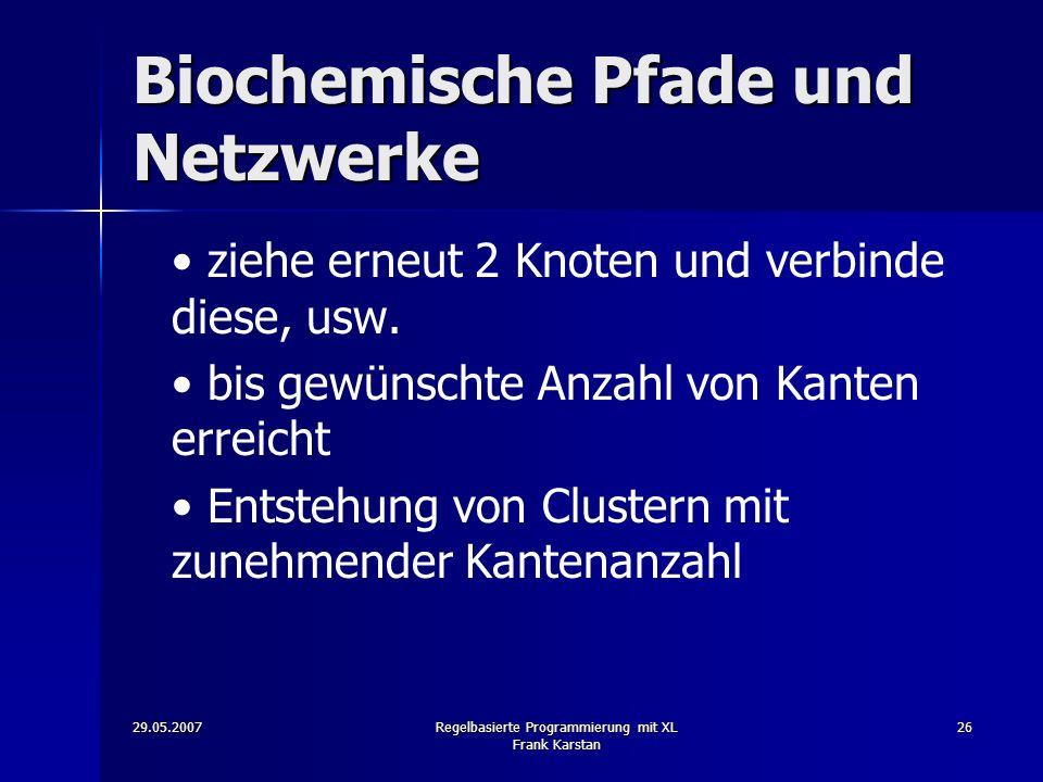 29.05.2007Regelbasierte Programmierung mit XL Frank Karstan 26 Biochemische Pfade und Netzwerke ziehe erneut 2 Knoten und verbinde diese, usw.