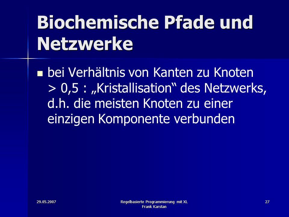 29.05.2007Regelbasierte Programmierung mit XL Frank Karstan 27 Biochemische Pfade und Netzwerke bei Verhältnis von Kanten zu Knoten > 0,5 : Kristallisation des Netzwerks, d.h.