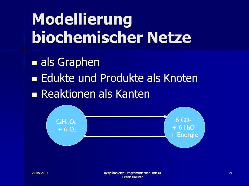 29.05.2007Regelbasierte Programmierung mit XL Frank Karstan 29 Modellierung biochemischer Netze als Graphen als Graphen Edukte und Produkte als Knoten Edukte und Produkte als Knoten Reaktionen als Kanten Reaktionen als Kanten C 6 H 12 O 6 + 6 O 2 6 CO 2 + 6 H 2 O + Energie