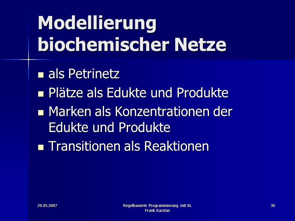 29.05.2007Regelbasierte Programmierung mit XL Frank Karstan 30 Modellierung biochemischer Netze als Petrinetz als Petrinetz Plätze als Edukte und Produkte Plätze als Edukte und Produkte Marken als Konzentrationen der Edukte und Produkte Marken als Konzentrationen der Edukte und Produkte Transitionen als Reaktionen Transitionen als Reaktionen