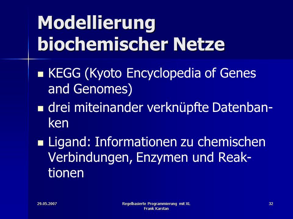 29.05.2007Regelbasierte Programmierung mit XL Frank Karstan 32 Modellierung biochemischer Netze KEGG (Kyoto Encyclopedia of Genes and Genomes) drei miteinander verknüpfte Datenban- ken Ligand: Informationen zu chemischen Verbindungen, Enzymen und Reak- tionen