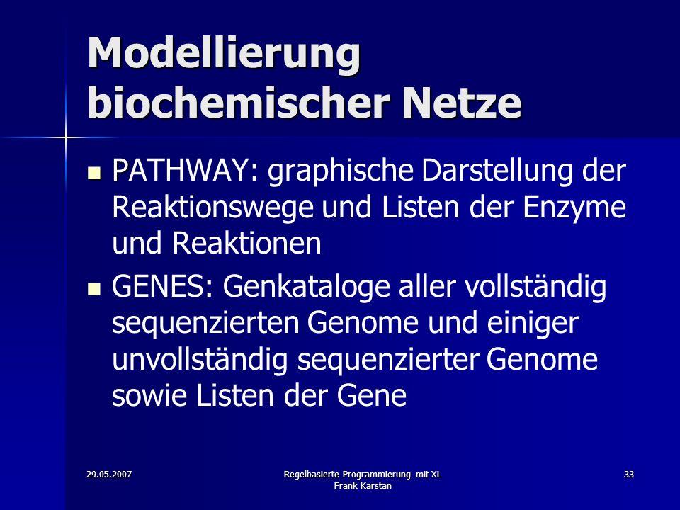 29.05.2007Regelbasierte Programmierung mit XL Frank Karstan 33 Modellierung biochemischer Netze P PATHWAY: graphische Darstellung der Reaktionswege und Listen der Enzyme und Reaktionen GENES: Genkataloge aller vollständig sequenzierten Genome und einiger unvollständig sequenzierter Genome sowie Listen der Gene