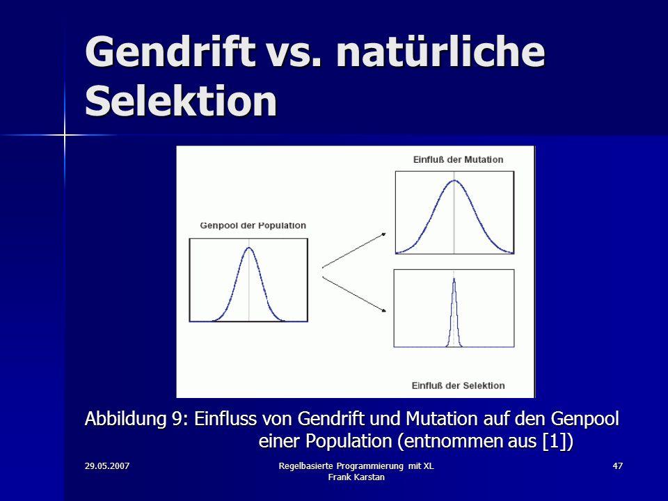 29.05.2007Regelbasierte Programmierung mit XL Frank Karstan 47 Gendrift vs.