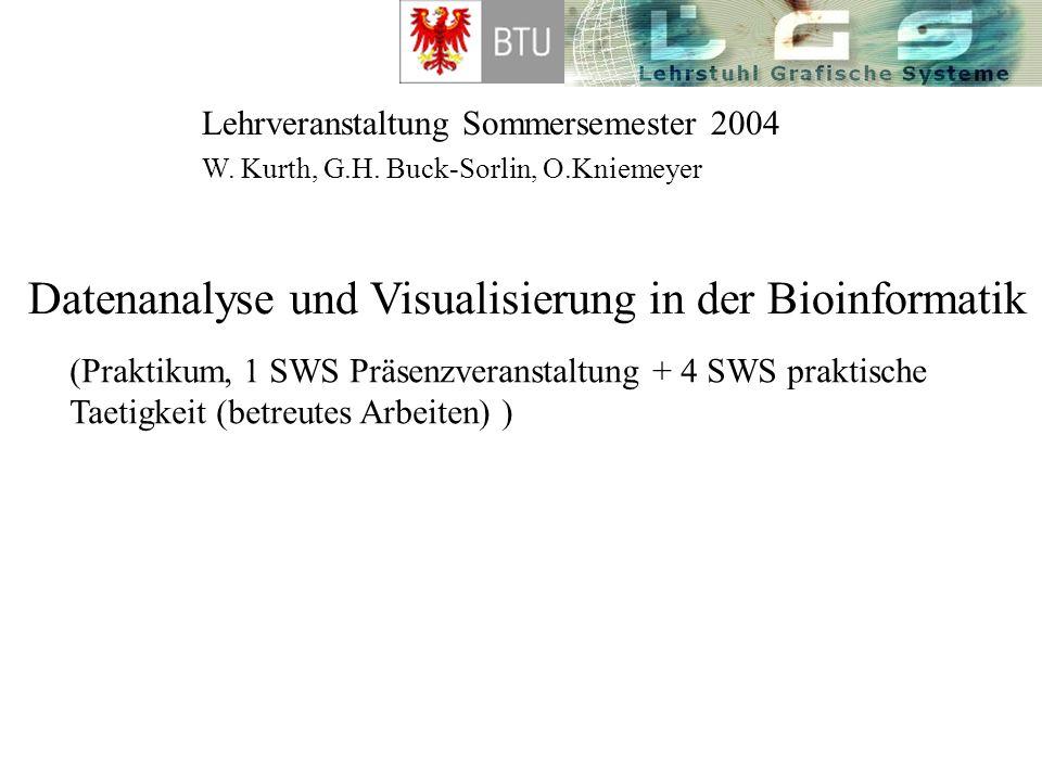 Lehrveranstaltung Sommersemester 2004 Datenanalyse und Visualisierung in der Bioinformatik W. Kurth, G.H. Buck-Sorlin, O.Kniemeyer (Praktikum, 1 SWS P