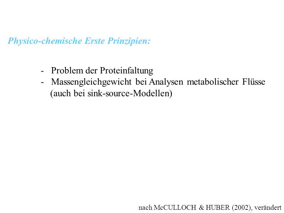 nach McCULLOCH & HUBER (2002), verändert Physico-chemische Erste Prinzipien: - Problem der Proteinfaltung - Massengleichgewicht bei Analysen metabolis