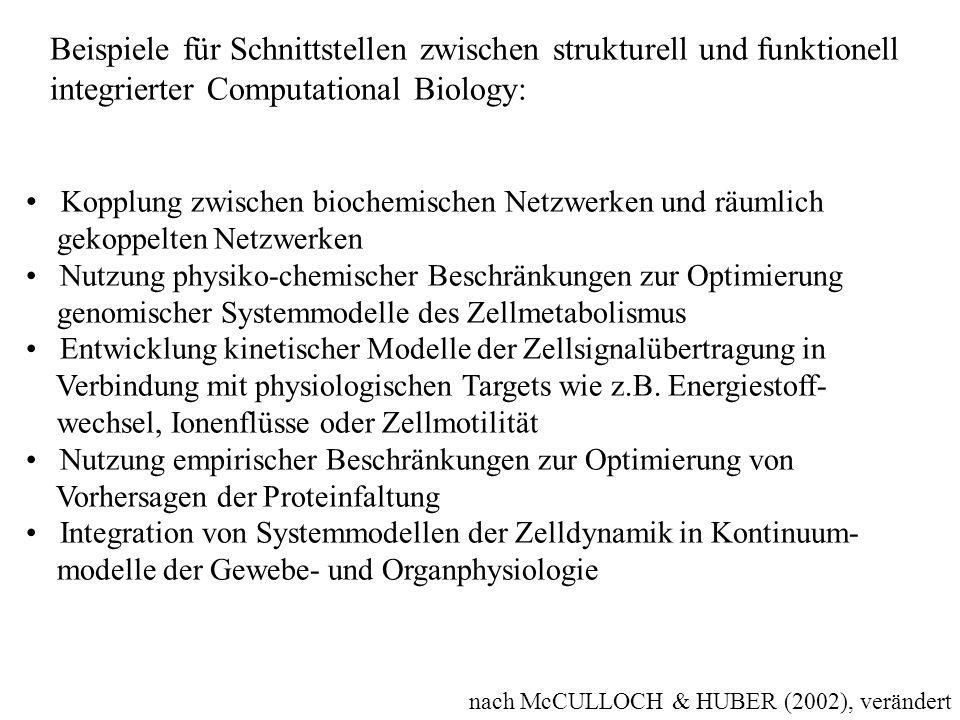 nach McCULLOCH & HUBER (2002), verändert Beispiele für Schnittstellen zwischen strukturell und funktionell integrierter Computational Biology: Kopplun