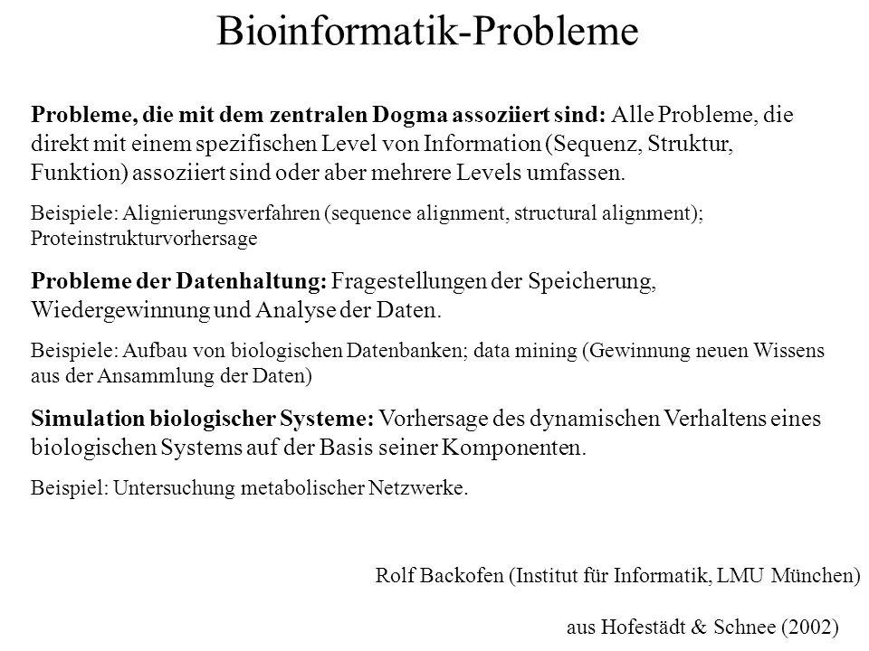 Bioinformatik-Probleme Probleme, die mit dem zentralen Dogma assoziiert sind: Alle Probleme, die direkt mit einem spezifischen Level von Information (