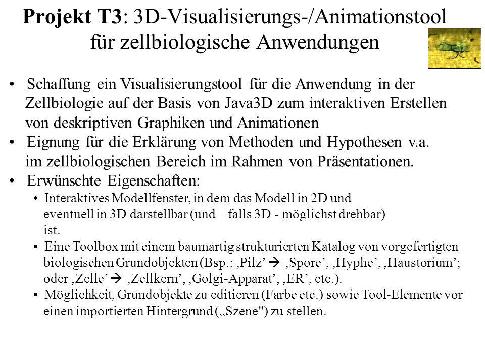 Projekt T3: 3D-Visualisierungs-/Animationstool für zellbiologische Anwendungen Schaffung ein Visualisierungstool für die Anwendung in der Zellbiologie