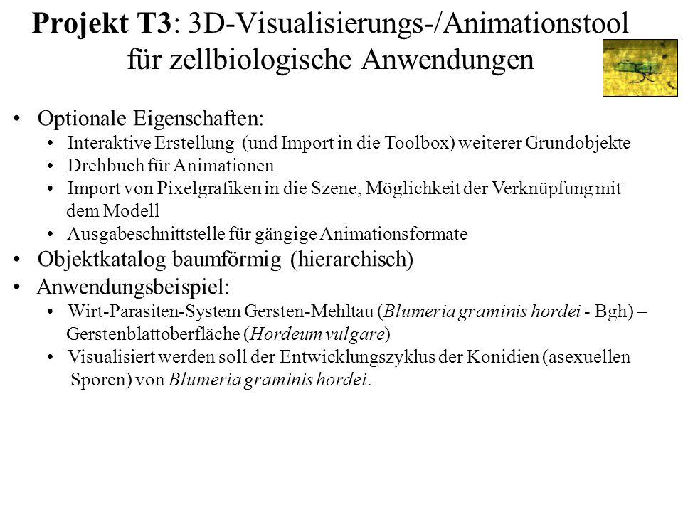 Projekt T3: 3D-Visualisierungs-/Animationstool für zellbiologische Anwendungen Optionale Eigenschaften: Interaktive Erstellung (und Import in die Tool