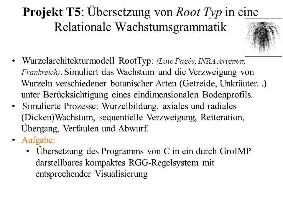 Projekt T5: Übersetzung von Root Typ in eine Relationale Wachstumsgrammatik Wurzelarchitekturmodell RootTyp: (Loic Pagès, INRA Avignon, Frankreich). S