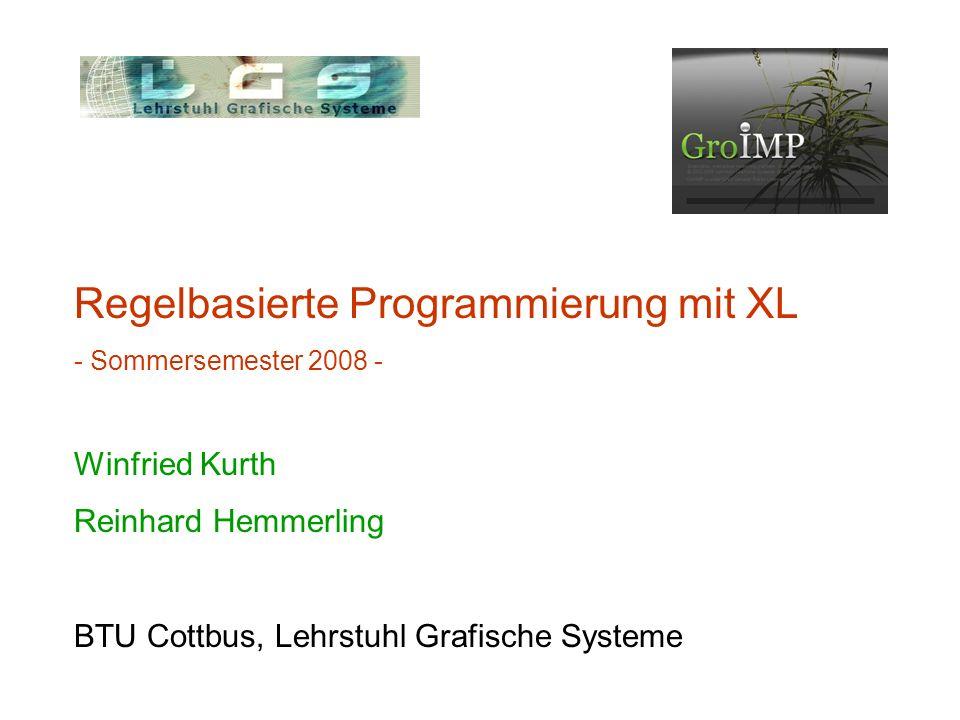 Zusammenfassung: Programmierparadigmen imperativ - Veränderung von Variablen - Turtle-Geometrie objektorientiert regelbasiert - L-Systeme - Graph-Grammatiken weitere: funktional; nebenläufig; chemisch...