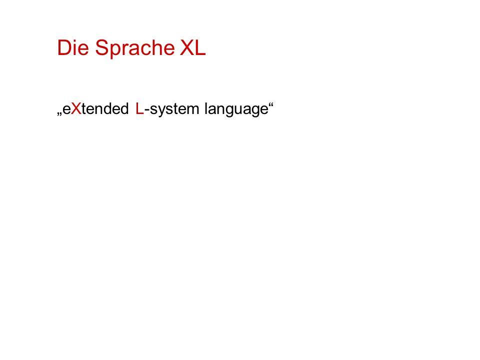 Sonderformen von RGG-Regeln: Aktualisierungsregeln (Regelpfeil ::> ): es werden nur Parameter verändert Beispiel: s:Sphere ::> s[radius] += increment; Instanzierungsregeln: einzelne Zeichen werden in Substrukturen aufgelöst, ohne Einfluss auf den nächsten Entwicklungsschritt (Regel muss dann direkt in der Moduldeklaration stehen) Beispiel: module S(float value) extends Null ==> { float x = value;} Sphere(0.1).(setShader(new RGBAShader(1,1-x,1-x)));