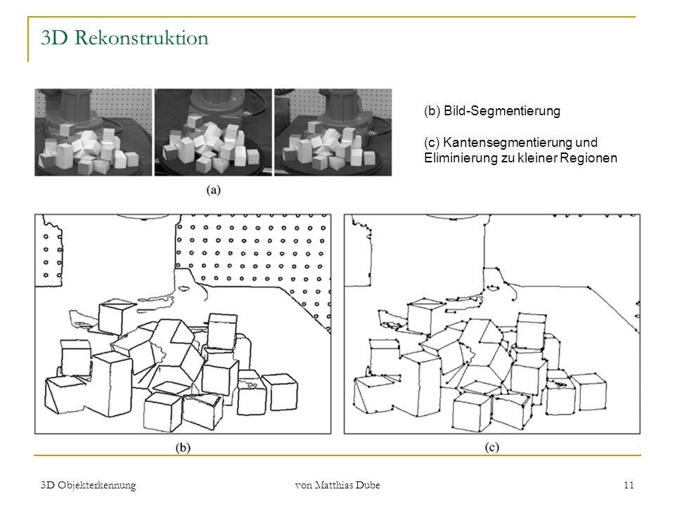 3D Objekterkennung von Matthias Dube 11 3D Rekonstruktion (b) Bild-Segmentierung (c) Kantensegmentierung und Eliminierung zu kleiner Regionen