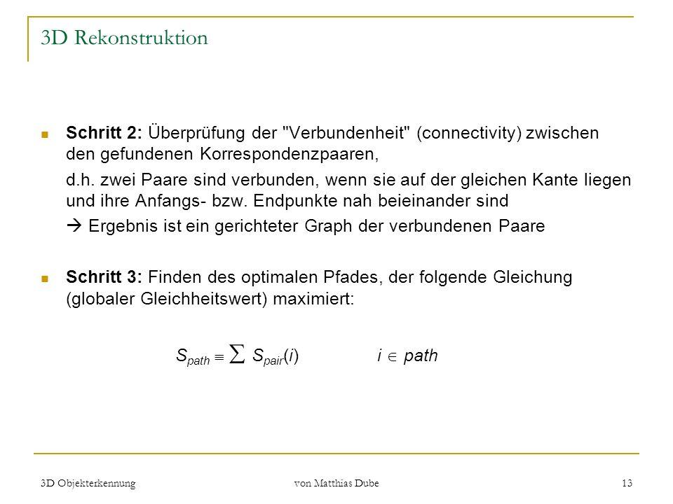 3D Objekterkennung von Matthias Dube 13 3D Rekonstruktion Schritt 2: Überprüfung der