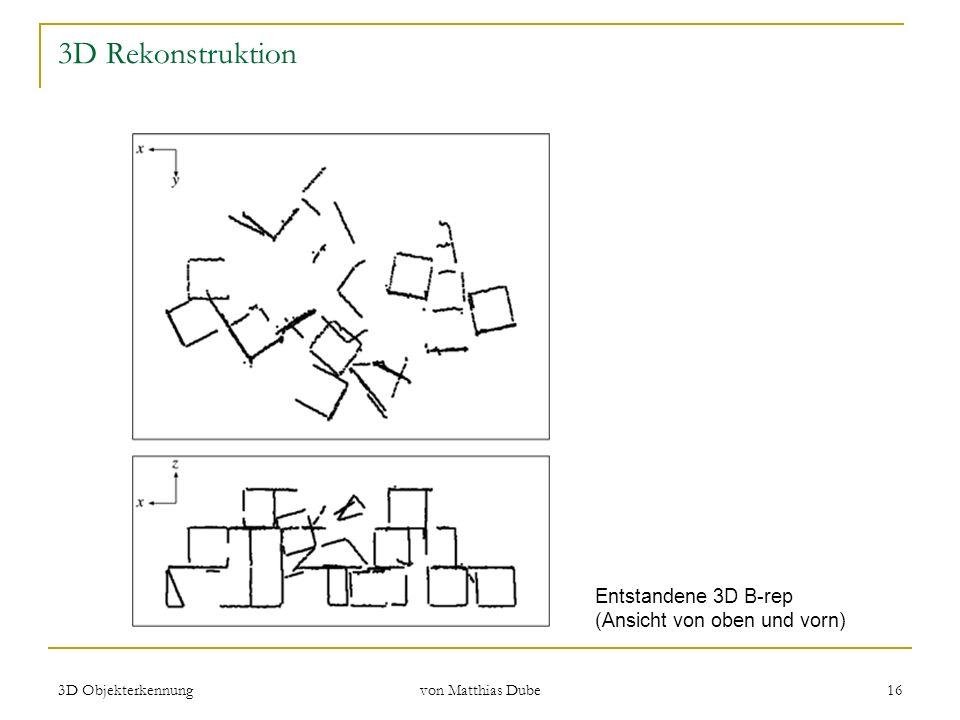 3D Objekterkennung von Matthias Dube 16 3D Rekonstruktion Entstandene 3D B-rep (Ansicht von oben und vorn)