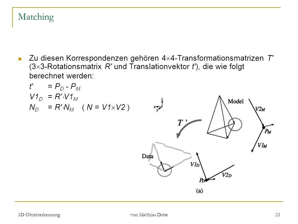 3D Objekterkennung von Matthias Dube 23 Matching Zu diesen Korrespondenzen gehören 4 4-Transformationsmatrizen T' (3 3-Rotationsmatrix R' und Translat