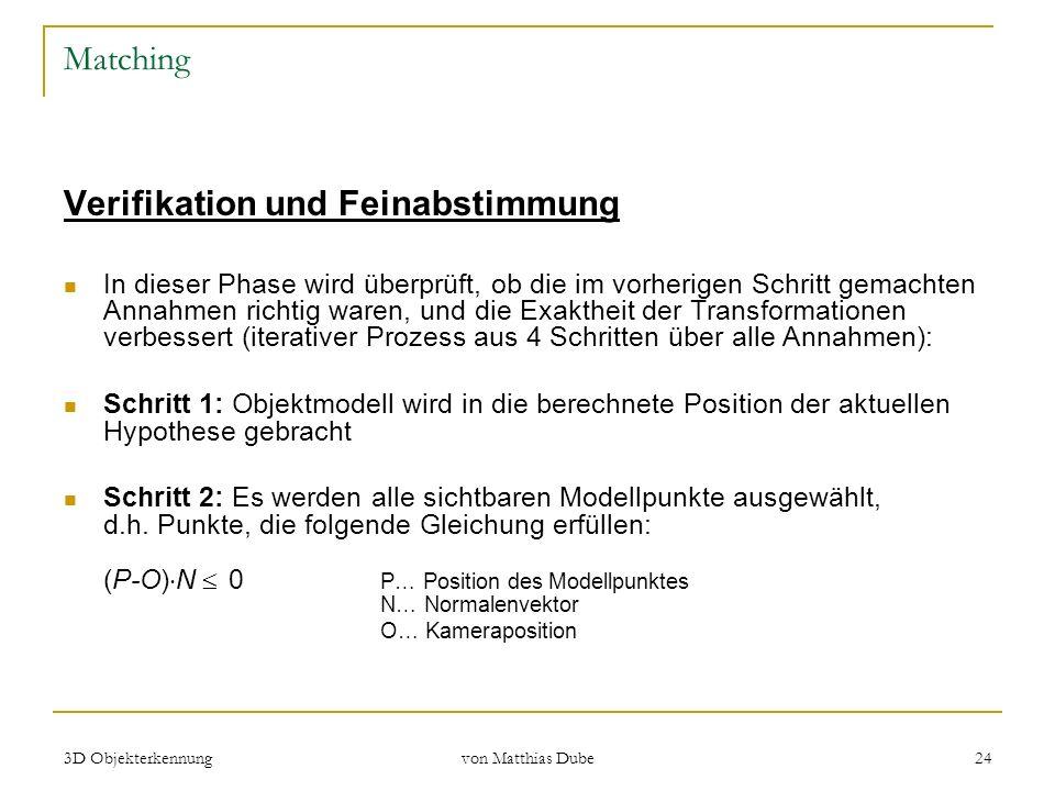 3D Objekterkennung von Matthias Dube 24 Matching Verifikation und Feinabstimmung In dieser Phase wird überprüft, ob die im vorherigen Schritt gemachte