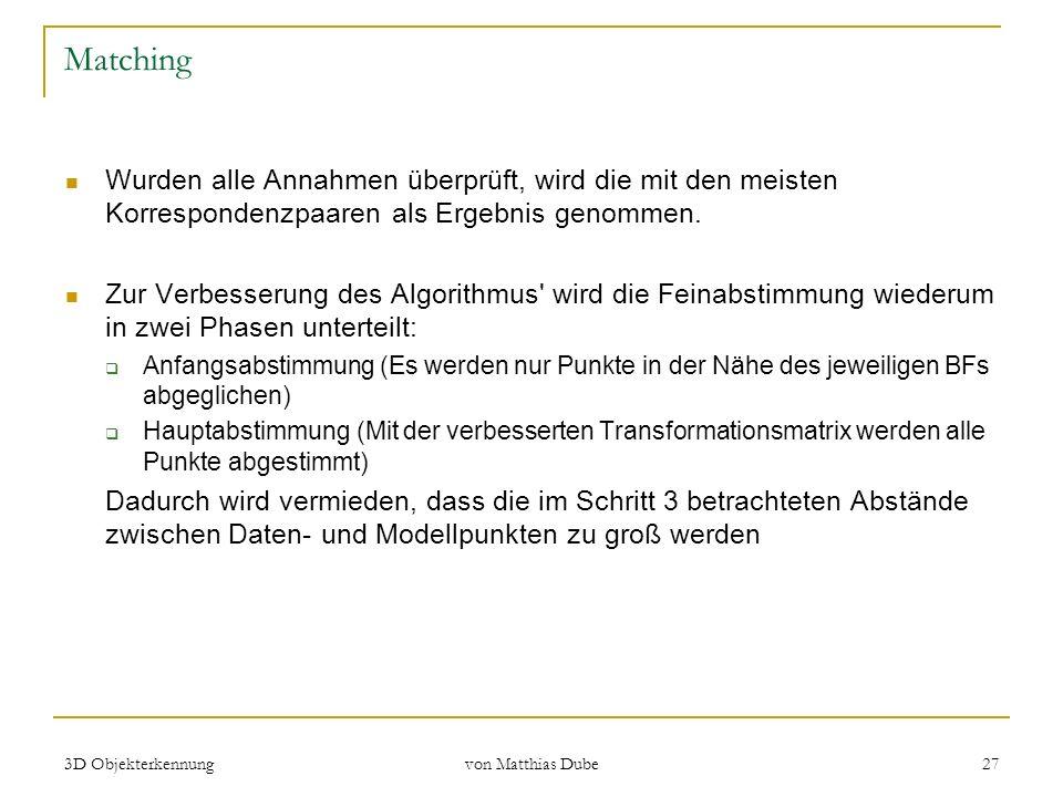 3D Objekterkennung von Matthias Dube 27 Matching Wurden alle Annahmen überprüft, wird die mit den meisten Korrespondenzpaaren als Ergebnis genommen. Z