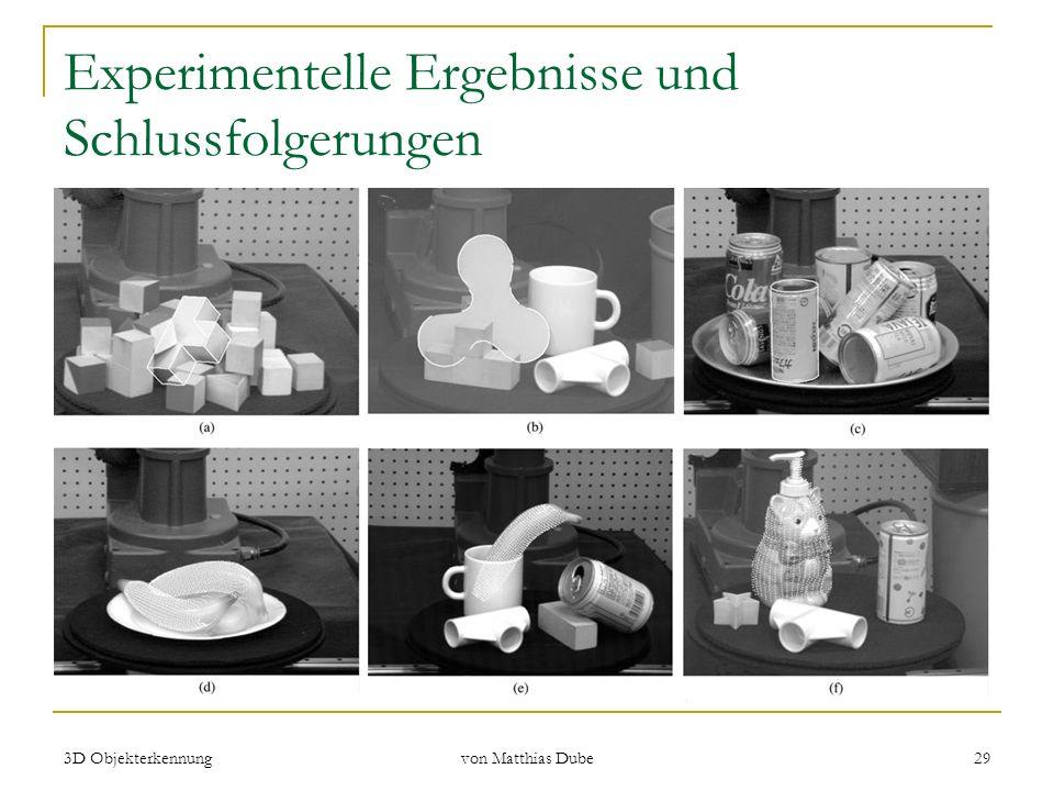 3D Objekterkennung von Matthias Dube 29 Experimentelle Ergebnisse und Schlussfolgerungen