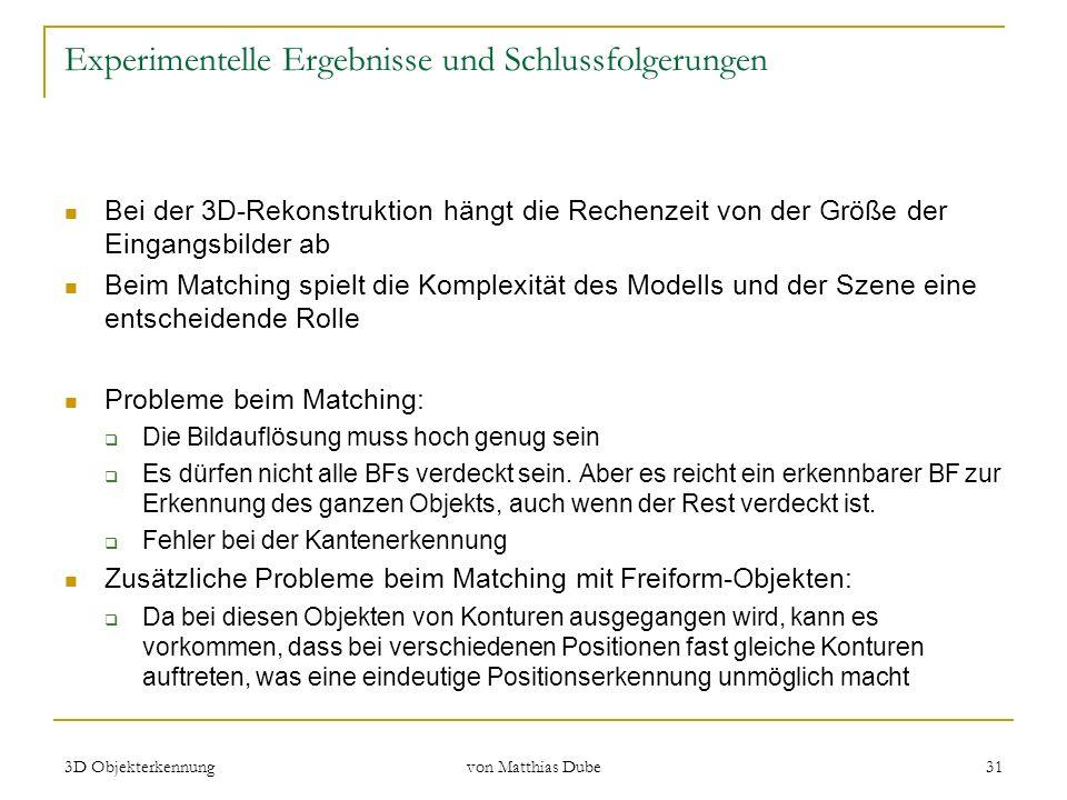 3D Objekterkennung von Matthias Dube 31 Experimentelle Ergebnisse und Schlussfolgerungen Bei der 3D-Rekonstruktion hängt die Rechenzeit von der Größe