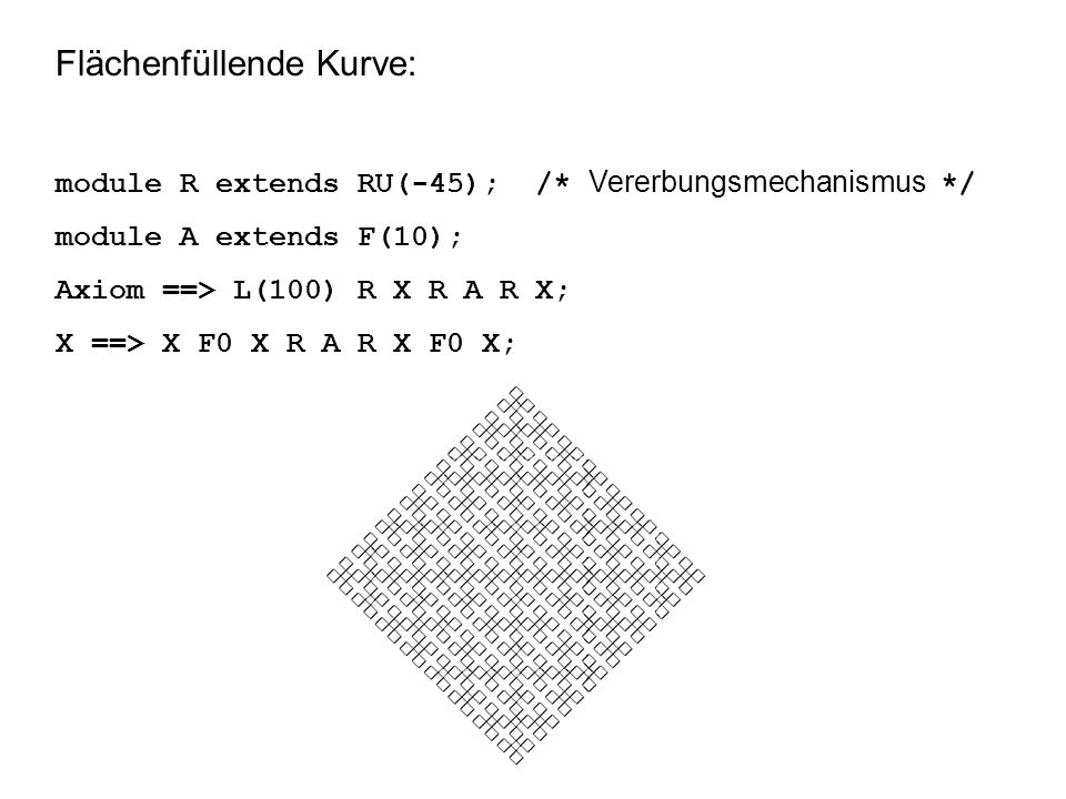 Flächenfüllende Kurve: module R extends RU(-45); /* Vererbungsmechanismus */ module A extends F(10); Axiom ==> L(100) R X R A R X; X ==> X F0 X R A R