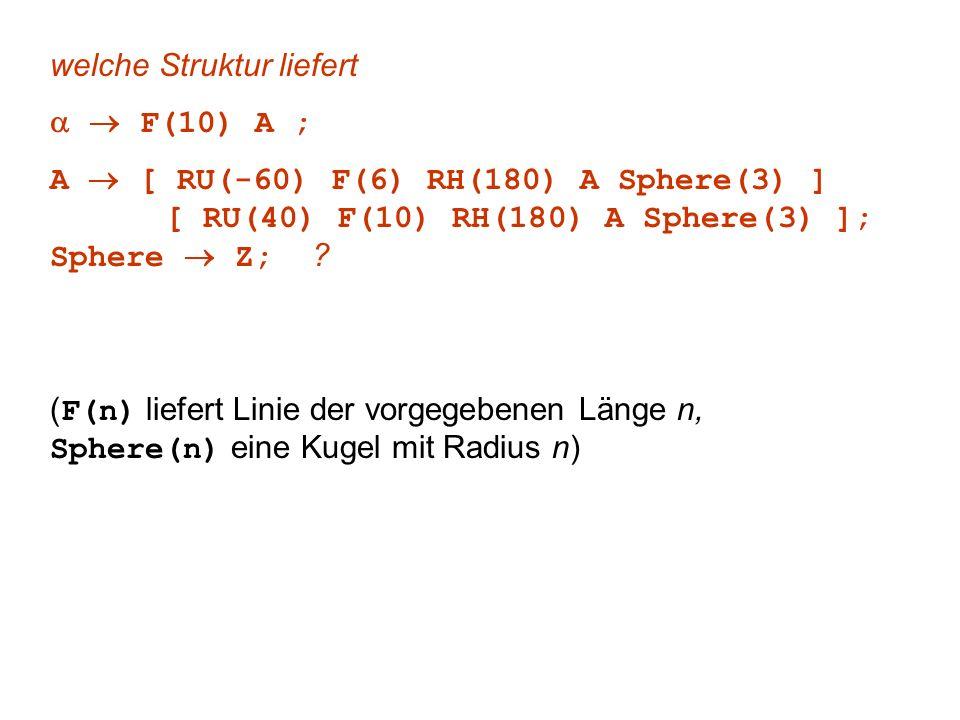 welche Struktur liefert F(10) A ; A [ RU(-60) F(6) RH(180) A Sphere(3) ] [ RU(40) F(10) RH(180) A Sphere(3) ]; Sphere Z; ? ( F(n) liefert Linie der vo