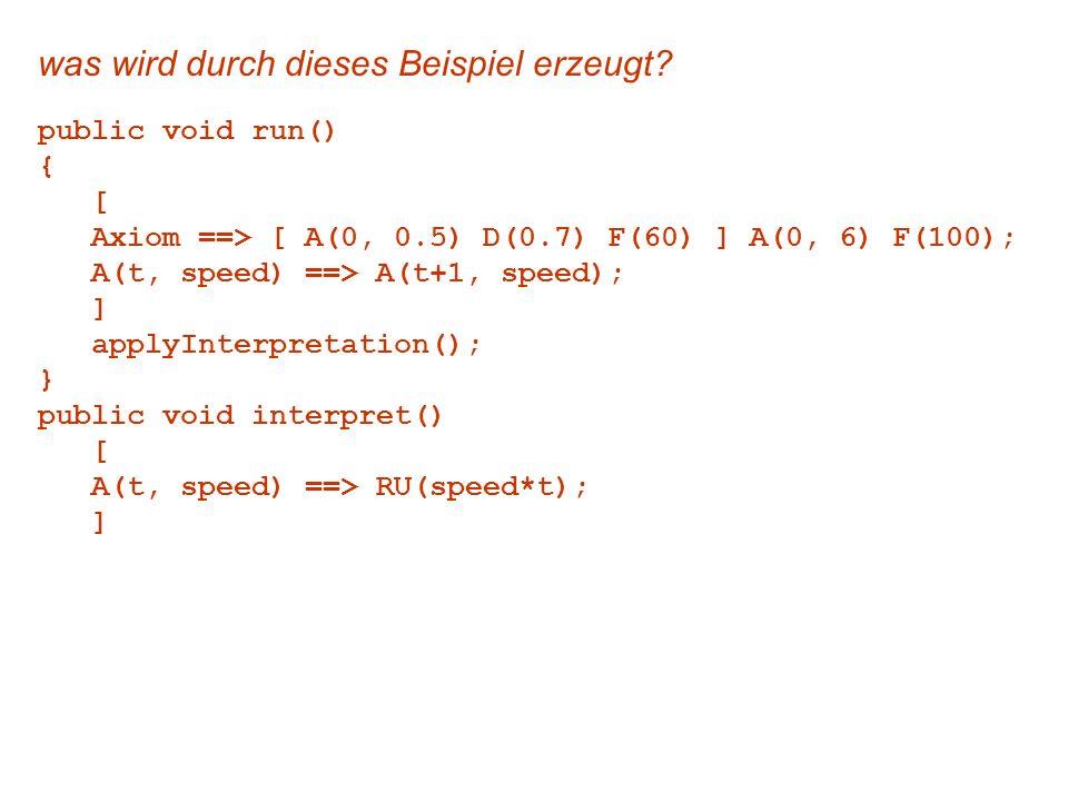 was wird durch dieses Beispiel erzeugt? public void run() { [ Axiom ==> [ A(0, 0.5) D(0.7) F(60) ] A(0, 6) F(100); A(t, speed) ==> A(t+1, speed); ] ap