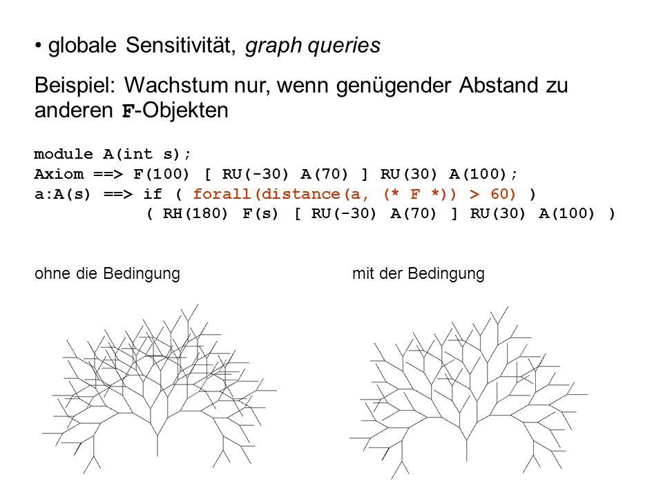 globale Sensitivität, graph queries Beispiel: Wachstum nur, wenn genügender Abstand zu anderen F -Objekten module A(int s); Axiom ==> F(100) [ RU(-30)