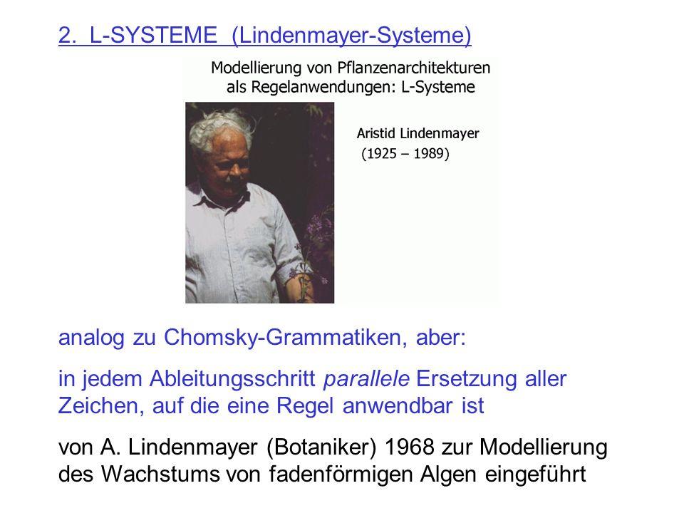 2. L-SYSTEME (Lindenmayer-Systeme) analog zu Chomsky-Grammatiken, aber: in jedem Ableitungsschritt parallele Ersetzung aller Zeichen, auf die eine Reg