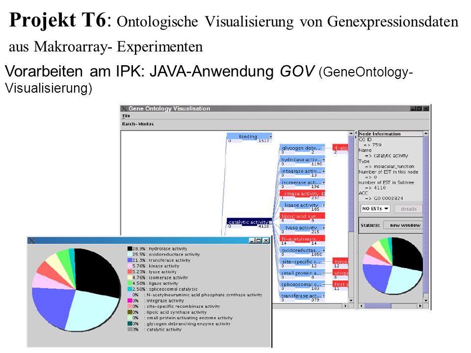 Projekt T6: Ontologische Visualisierung von Genexpressionsdaten aus Makroarray- Experimenten Vorarbeiten am IPK: JAVA-Anwendung GOV (GeneOntology- Vis