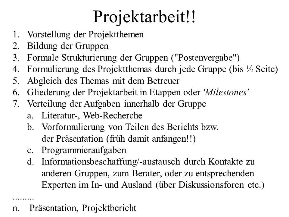 Projektarbeit!! 1.Vorstellung der Projektthemen 2.Bildung der Gruppen 3.Formale Strukturierung der Gruppen (