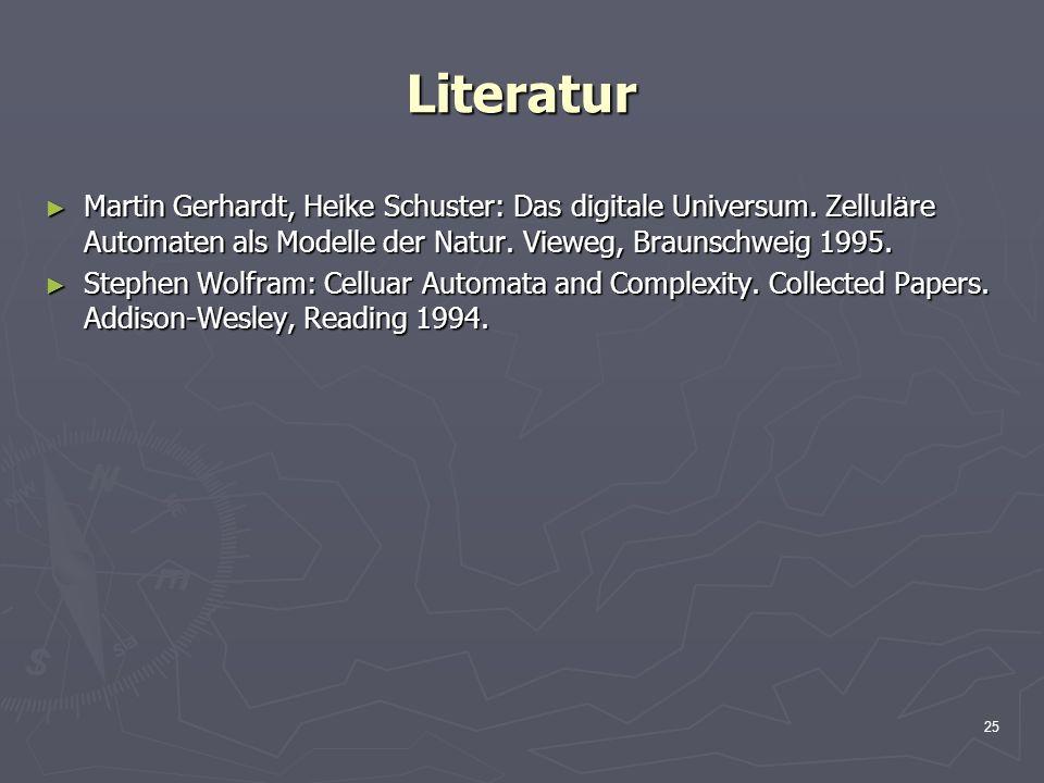 25 Literatur Martin Gerhardt, Heike Schuster: Das digitale Universum. Zellul ä re Automaten als Modelle der Natur. Vieweg, Braunschweig 1995. Martin G