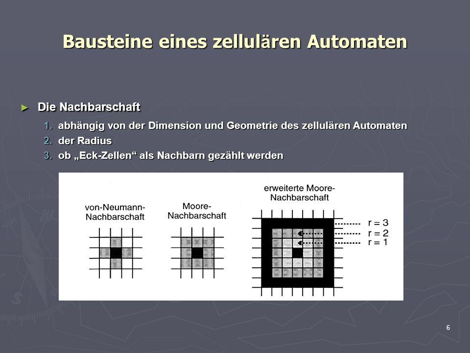 6 Bausteine eines zellul ä ren Automaten Die Nachbarschaft Die Nachbarschaft 1.abhängig von der Dimension und Geometrie des zellulären Automaten 2.der Radius 3.ob Eck-Zellen als Nachbarn gezählt werden